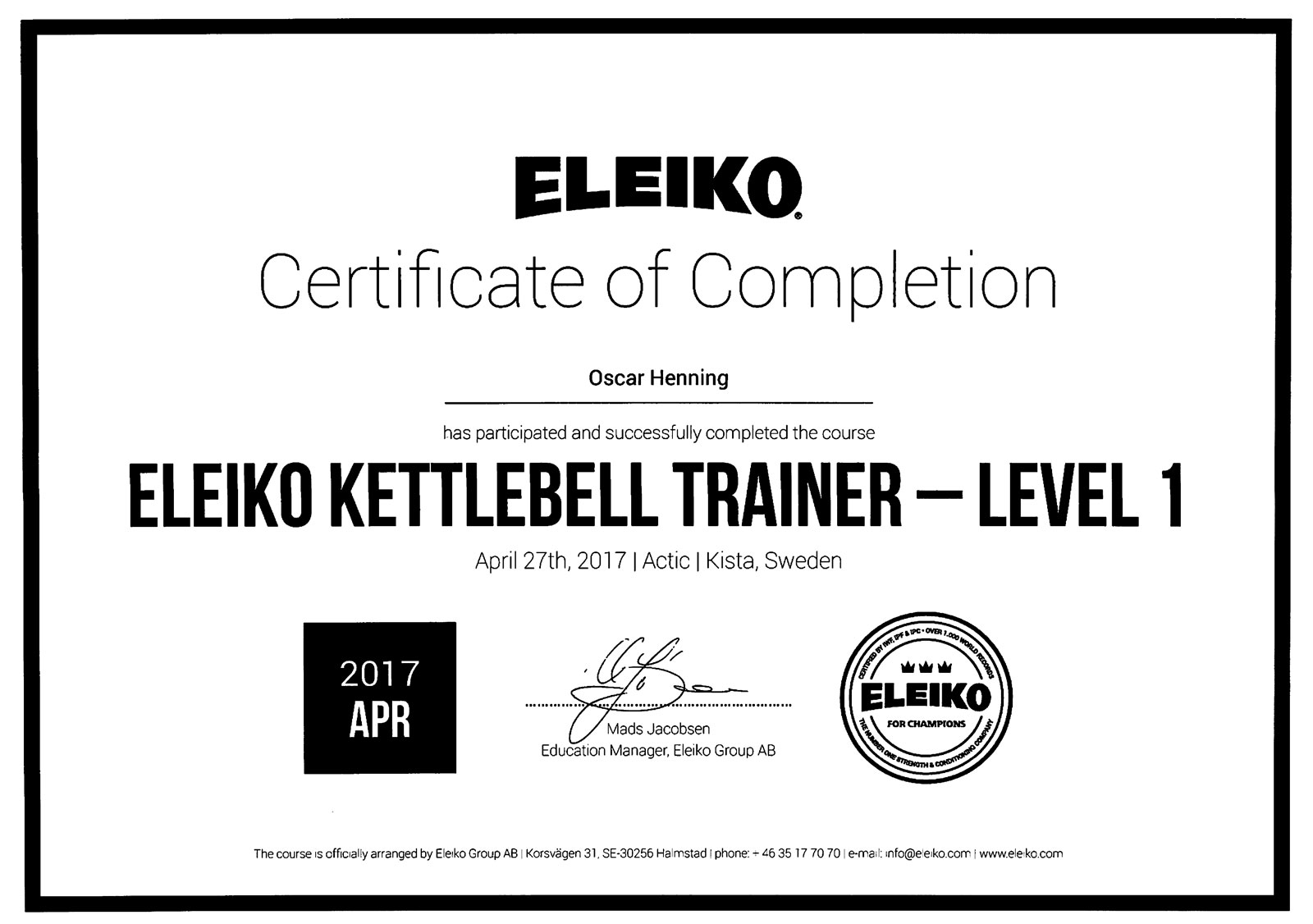 Diplom Eleiko Kettlebell Trailer Level 1