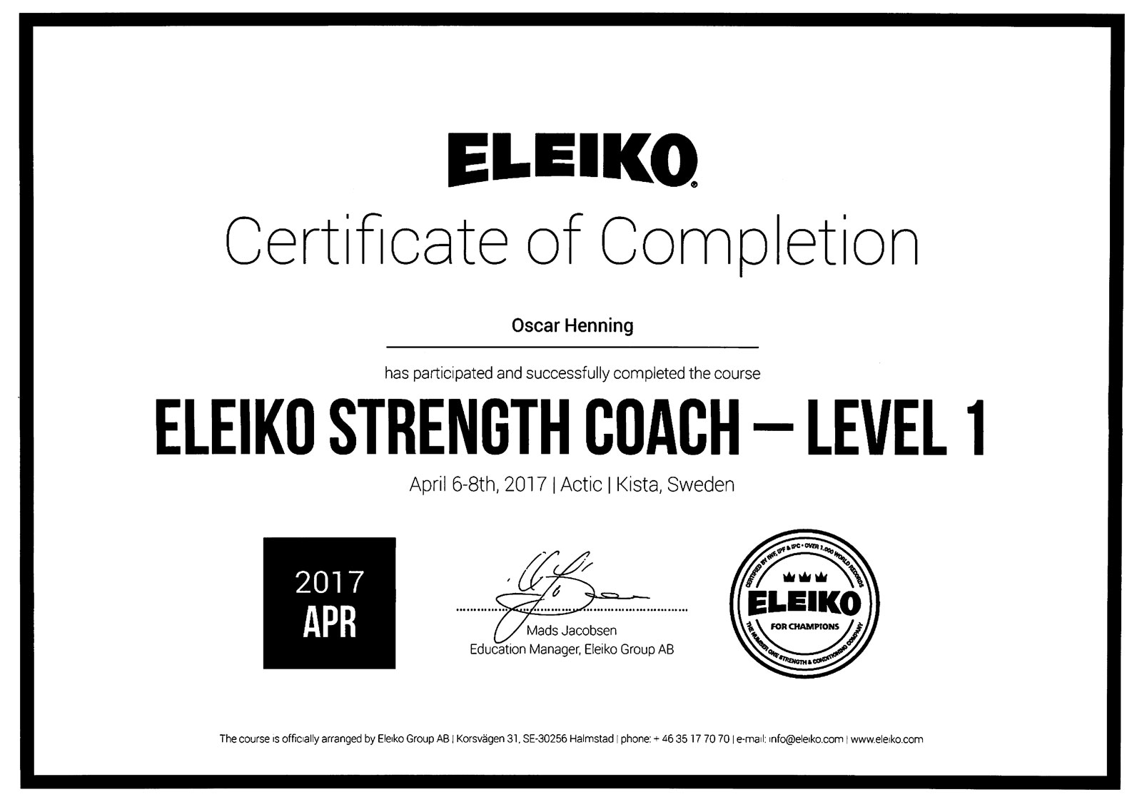 Diplom Eleiko Strength Coach Level 1